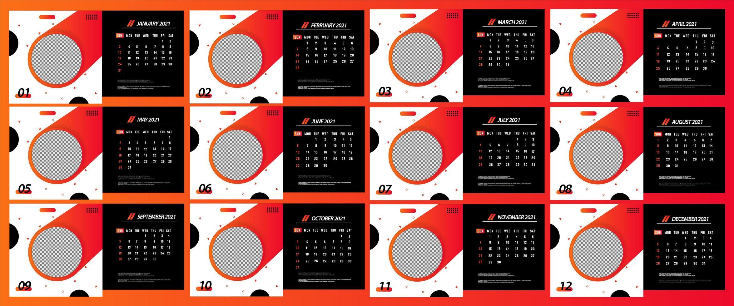calendario da tavolo 2021 modello di cerchio che scorre   Scarica