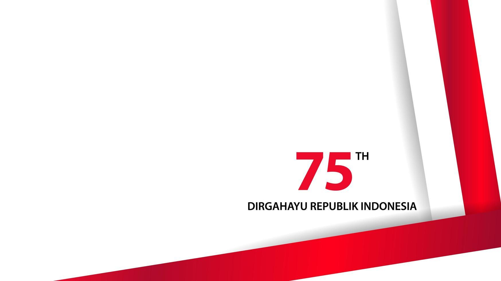 joyeux jour de l'indépendance de l'indonésie avec texte 75e vecteur