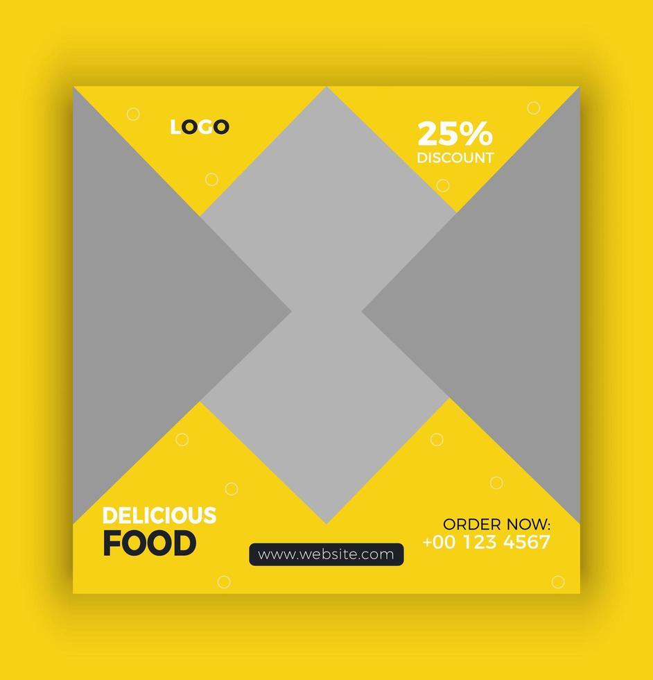 bannière de nourriture élégante médias sociaux vecteur