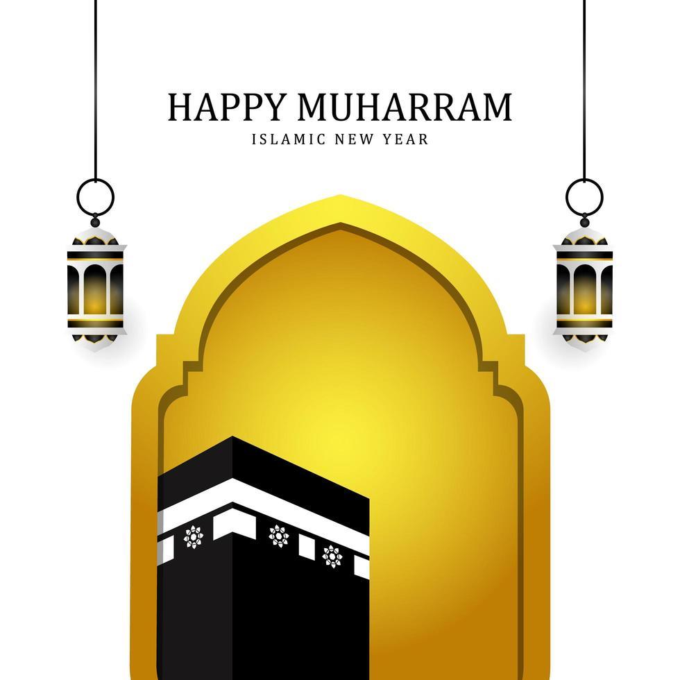 fond de muharram heureux avec mosquée et mecque vecteur