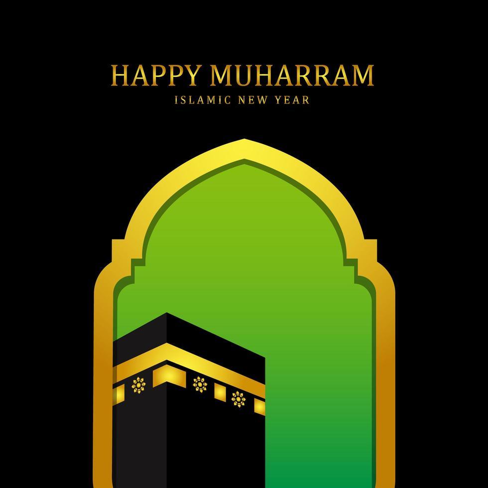 felice anno nuovo sfondo islamico muharram con la moschea e la mecca vettore