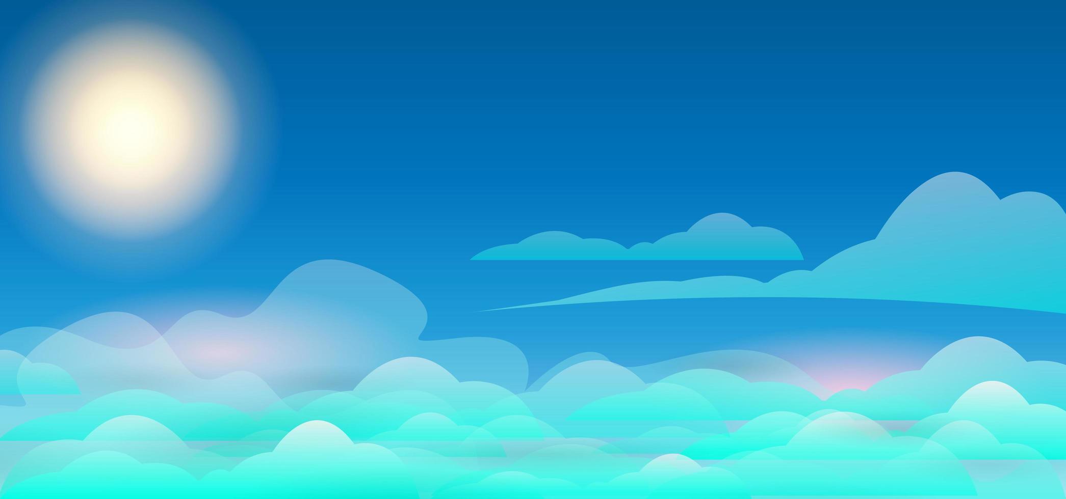 modelo de plano de fundo do céu com nuvens azuis vetor