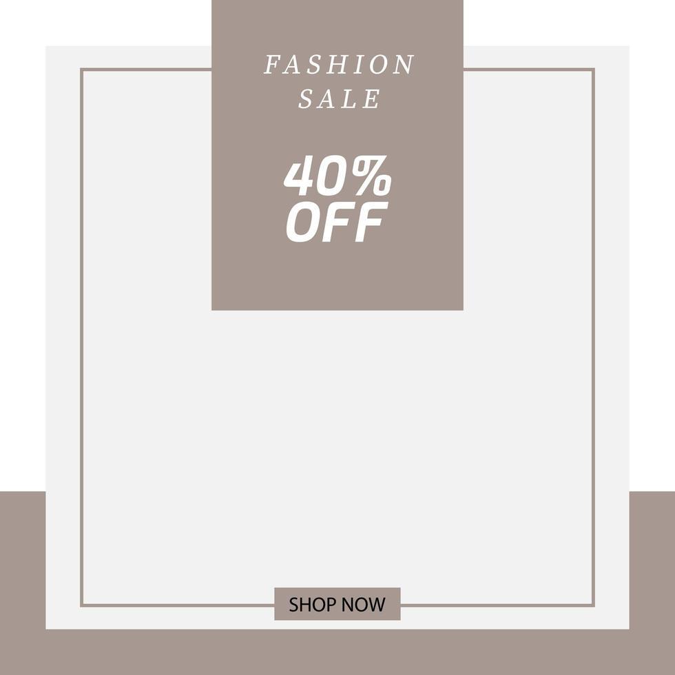 banner quadrato minimalista per social media di moda al dettaglio vettore