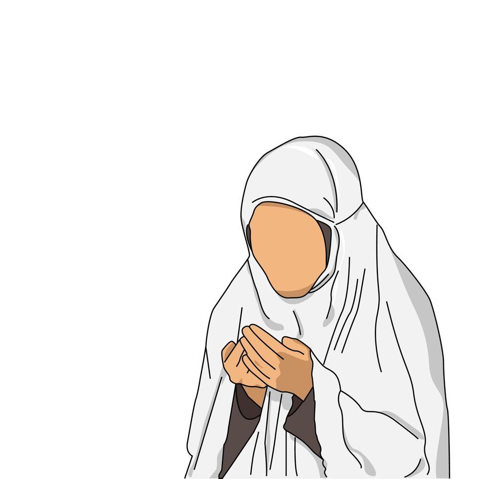 femme islamique avec des vêtements hajj sur blanc vecteur