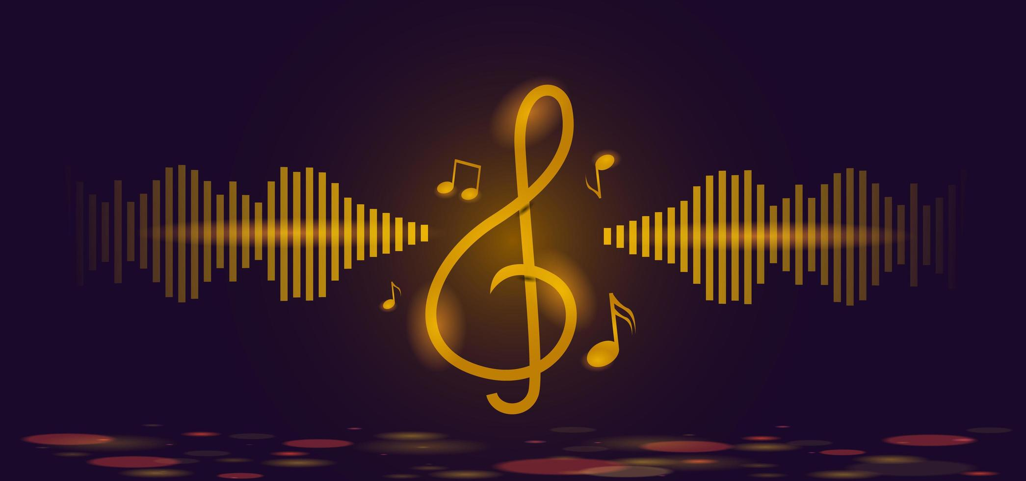note musicali dorate e modello di sfondo chiave di violino vettore