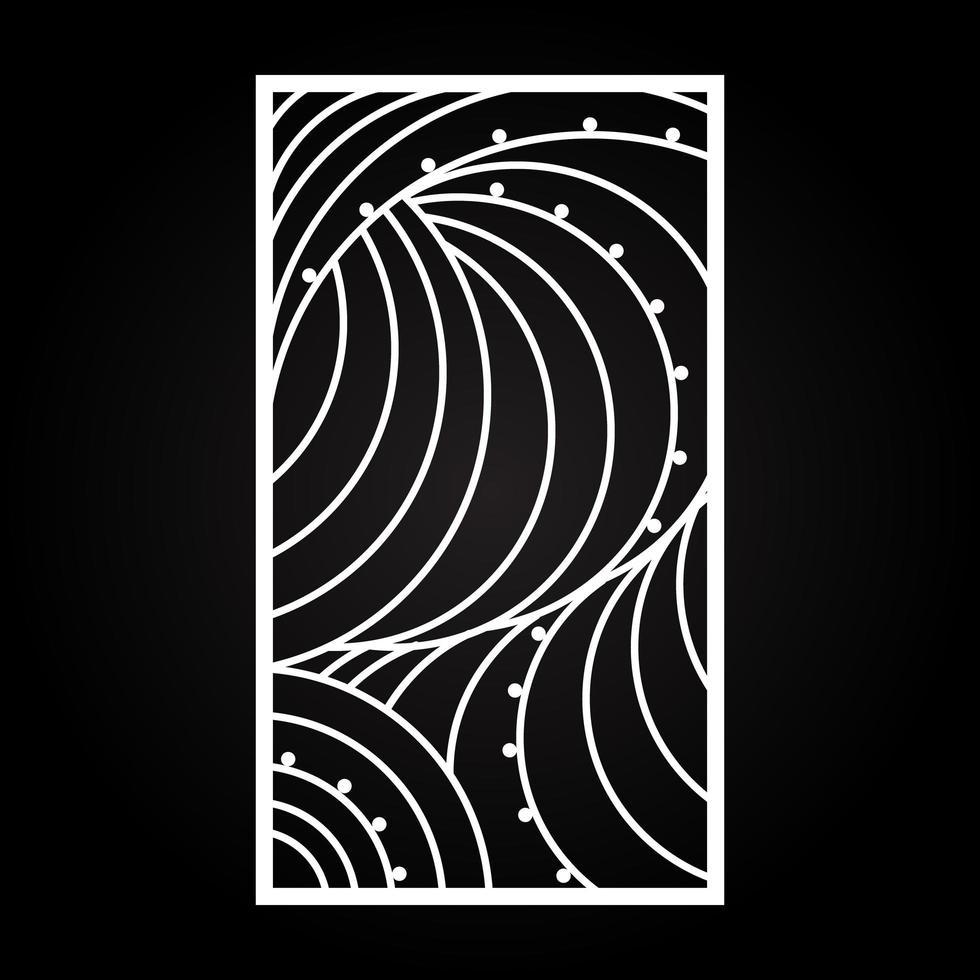 taglio laser arte astratta cornice sul nero vettore