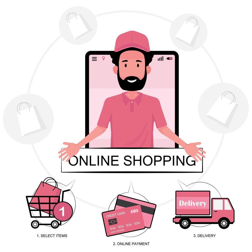les trois étapes du shopping en ligne vecteur