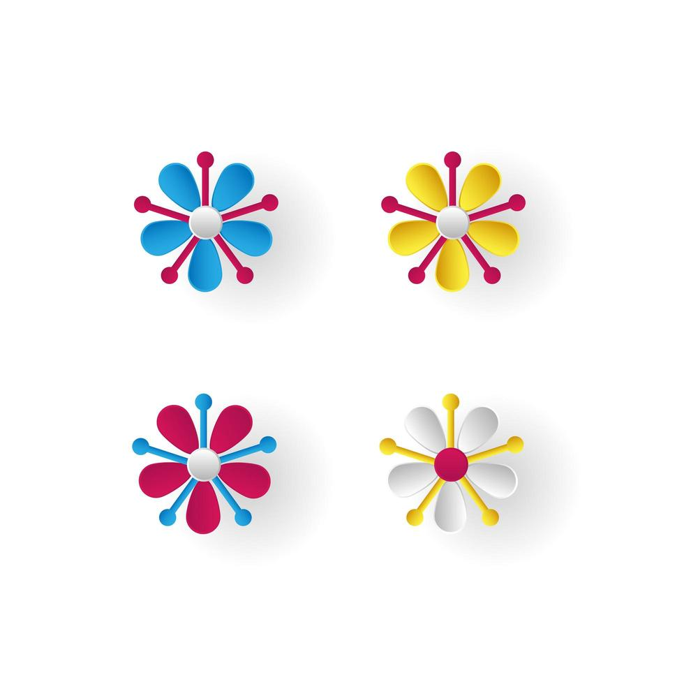 fiori colorati impostati su sfondo bianco vettore