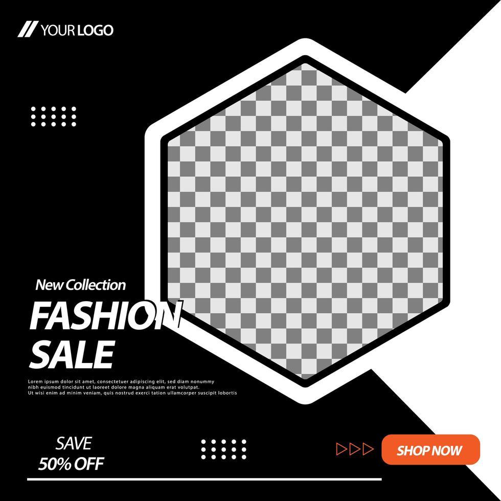 modèle de bannière de médias sociaux hexagone noir et blanc vecteur