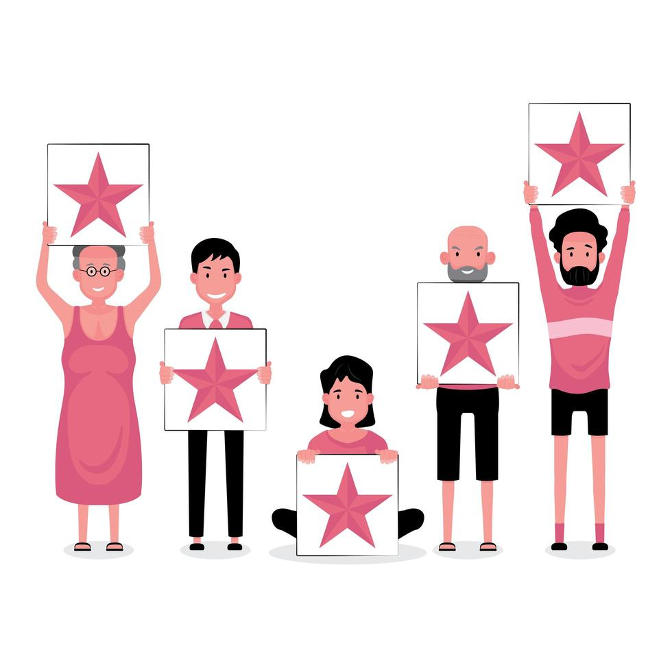 Groupe de personnes détenant des panneaux de rétroaction 5 étoiles vecteur