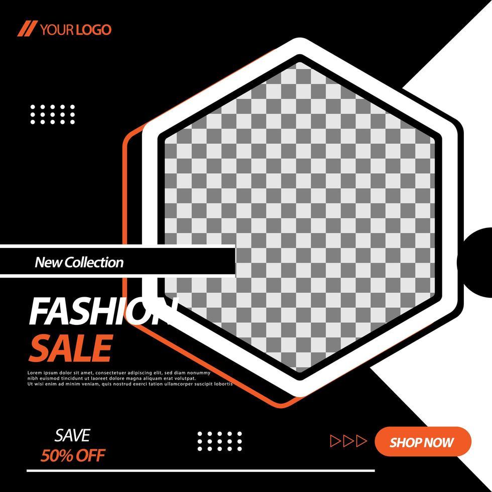 Black, White, Orange Hexagon Social Media Banner Template vector