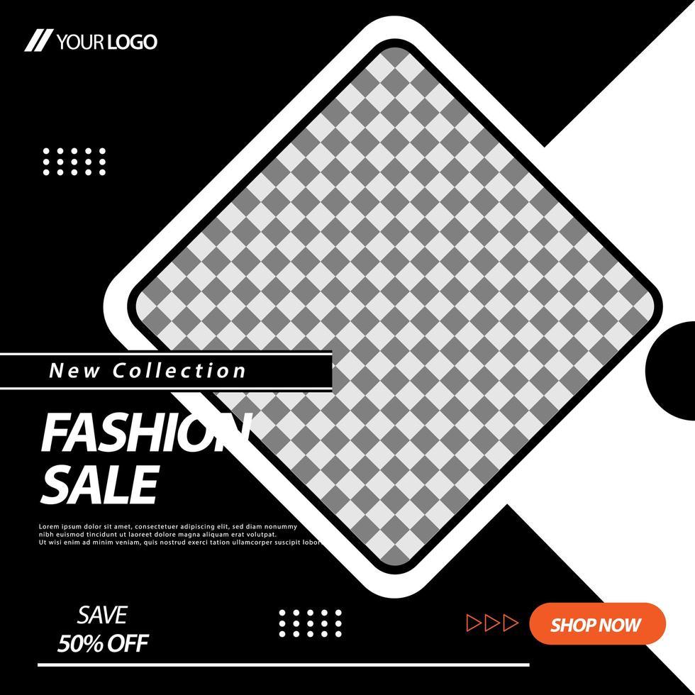 layout modello di banner social media quadrato nero, bianco vettore