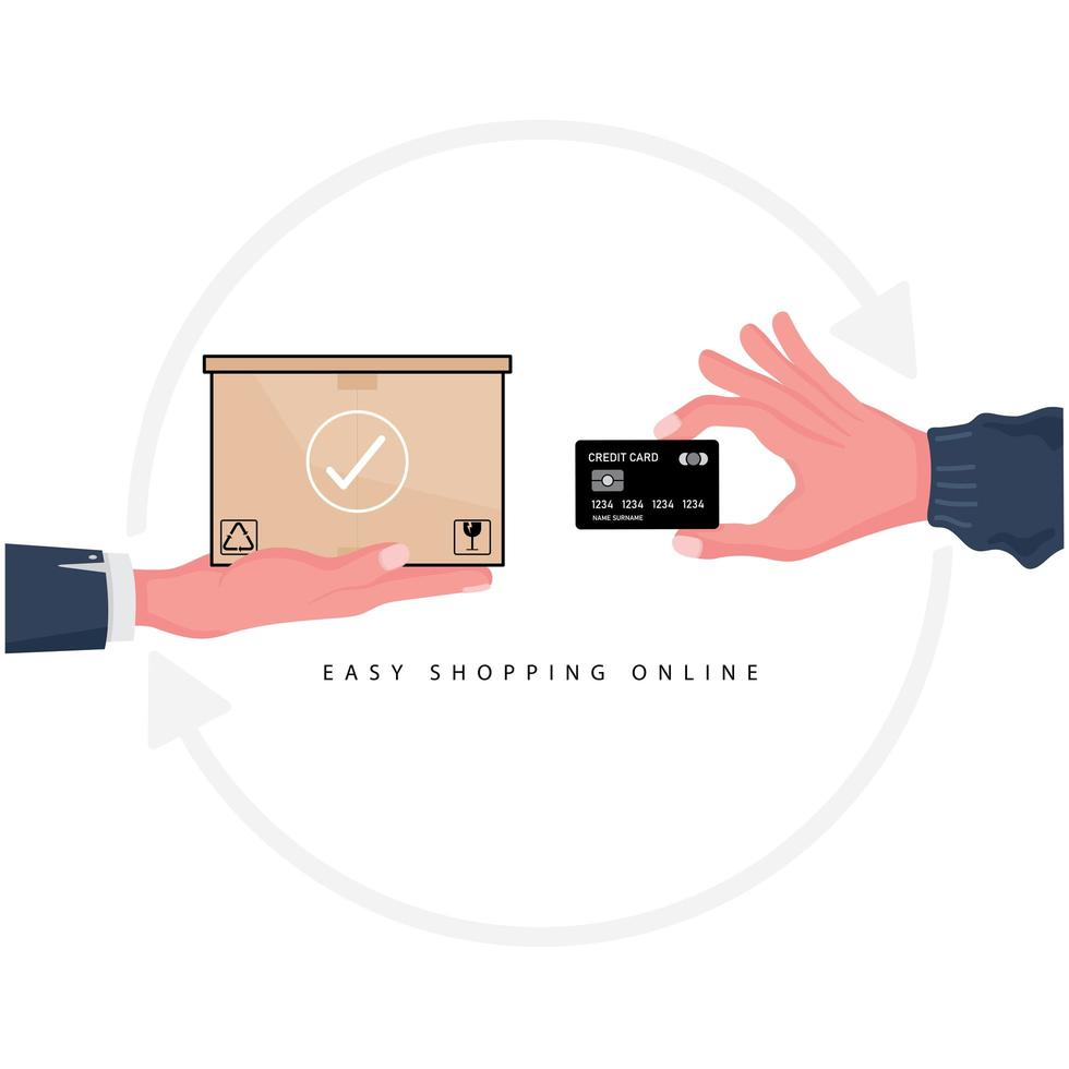 achats en ligne faciles avec un forfait et une carte de crédit vecteur