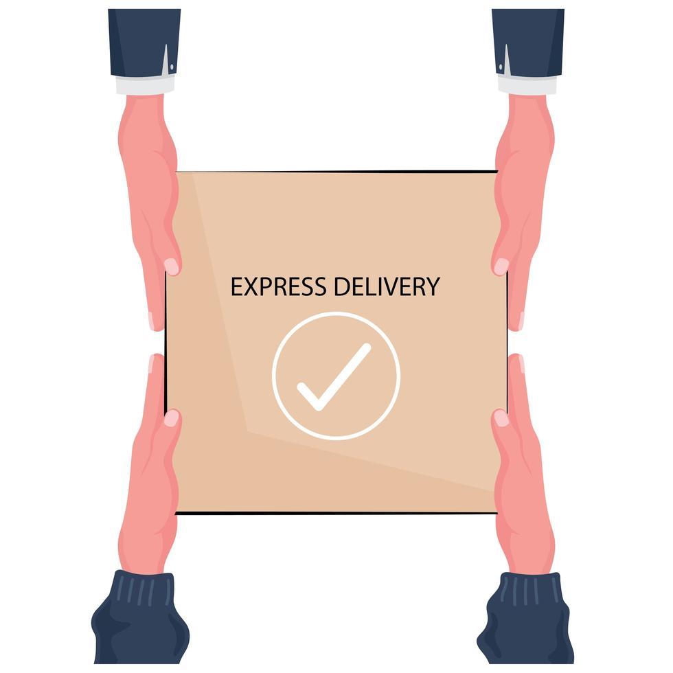 entrega expressa em mãos segurando uma caixa vetor