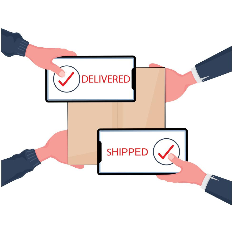 achats en ligne et concept de livraison rapide vecteur