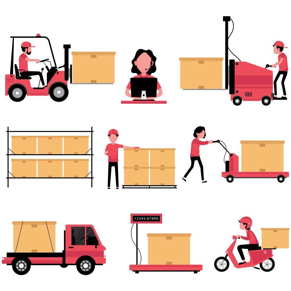set di icone di processo logistico vettore