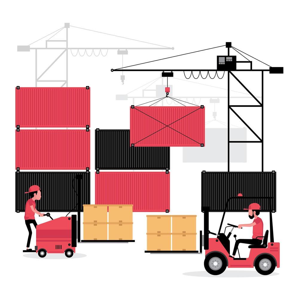 processus logistique de conteneurs intermodaux pour navires vecteur