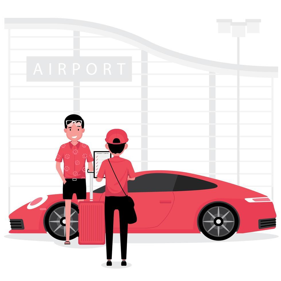 un homme faisant vérifier une voiture de location vecteur