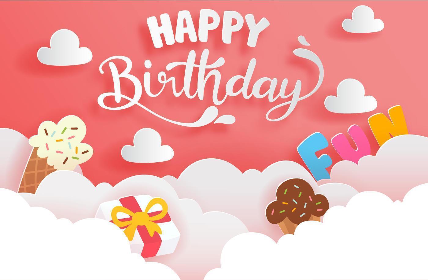 carte de joyeux anniversaire style papier découpé avec gâteau et boîte-cadeau vecteur