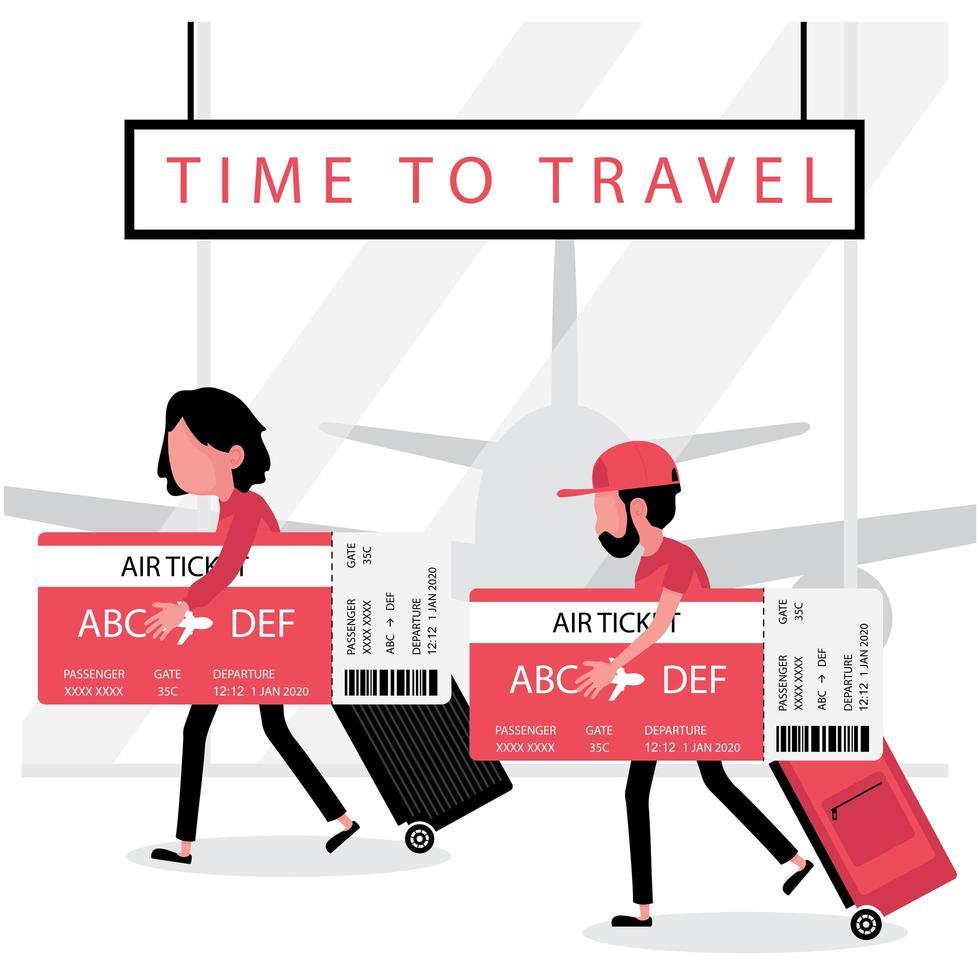 homme et femme tenant de grandes cartes d'embarquement et bagages vecteur