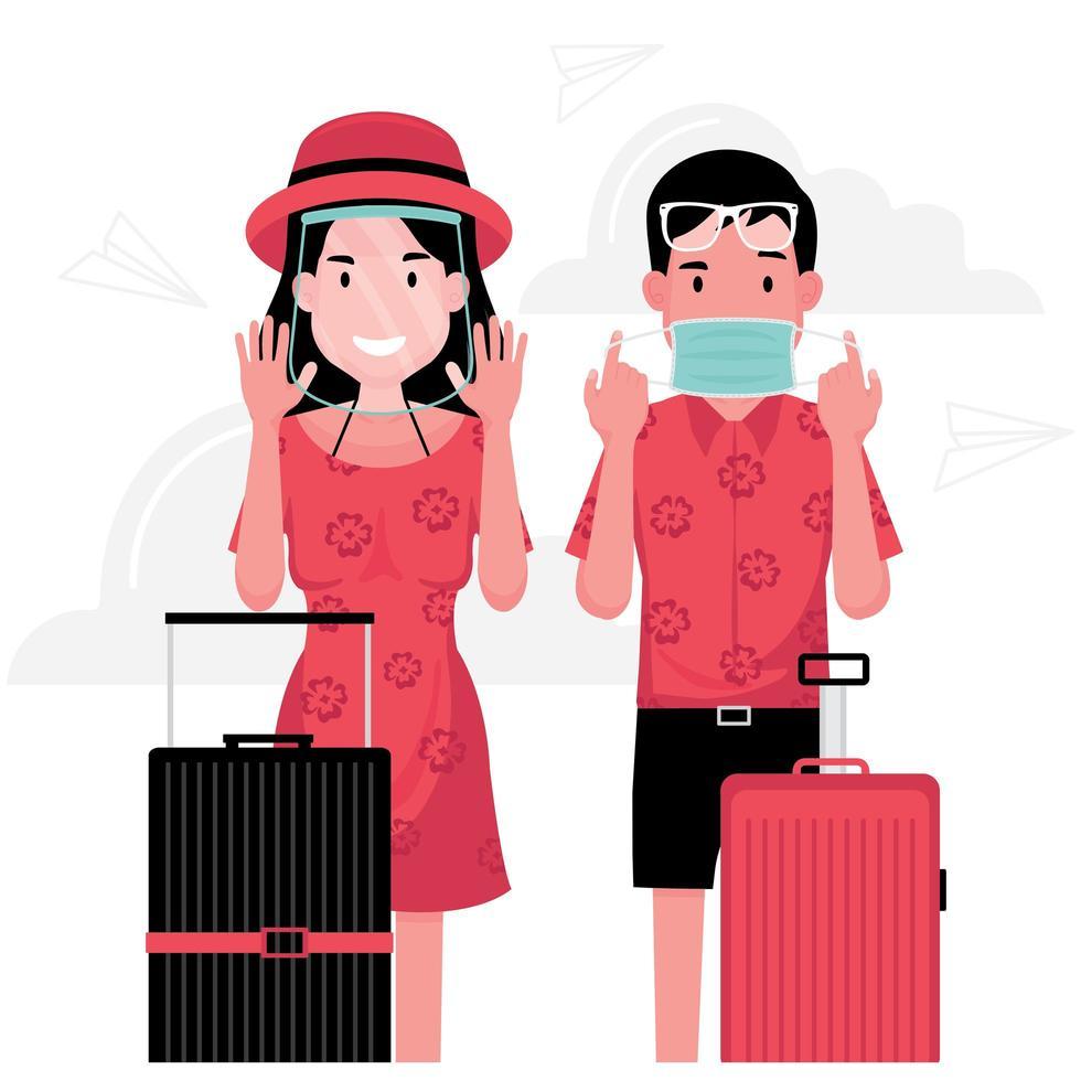 uomo e donna che viaggiano indossando maschera e schermo facciale vettore
