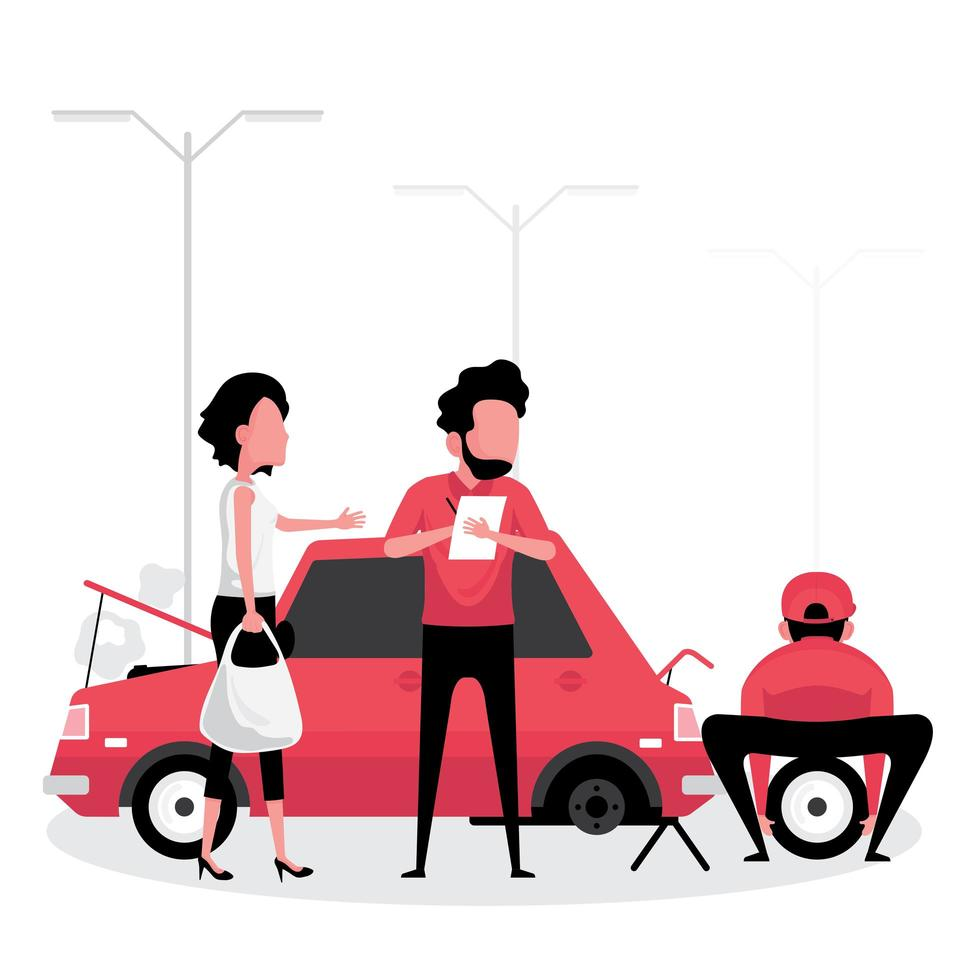 compagnie d'assurance automobile réparant une voiture vecteur