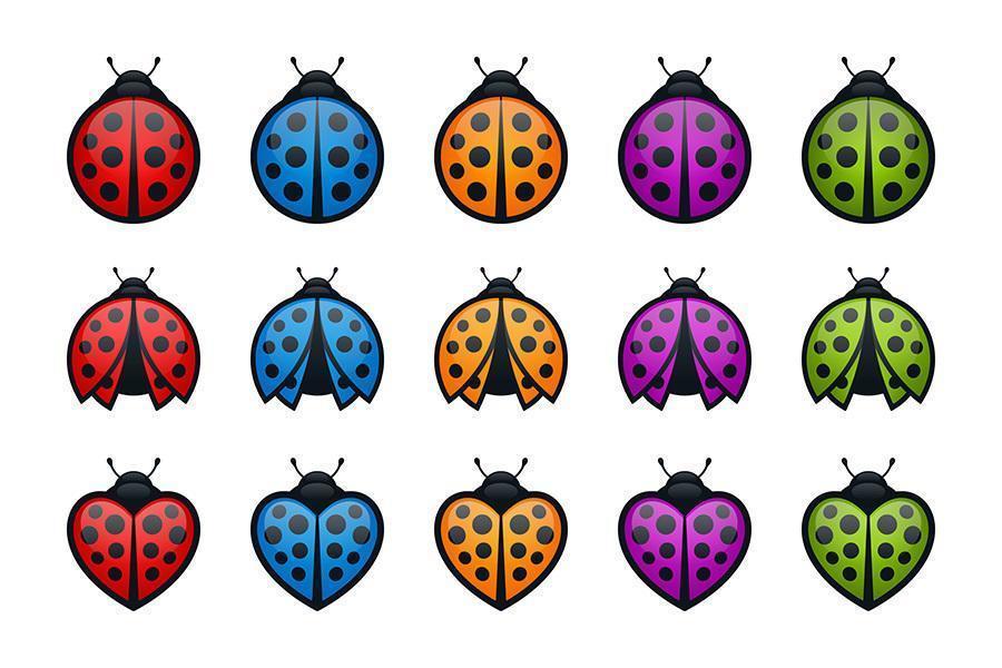 set di icone di coccinelle colorate rotonde ea forma di cuore vettore