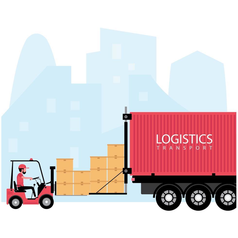 logistica e processo di trasporto di consegna vettore