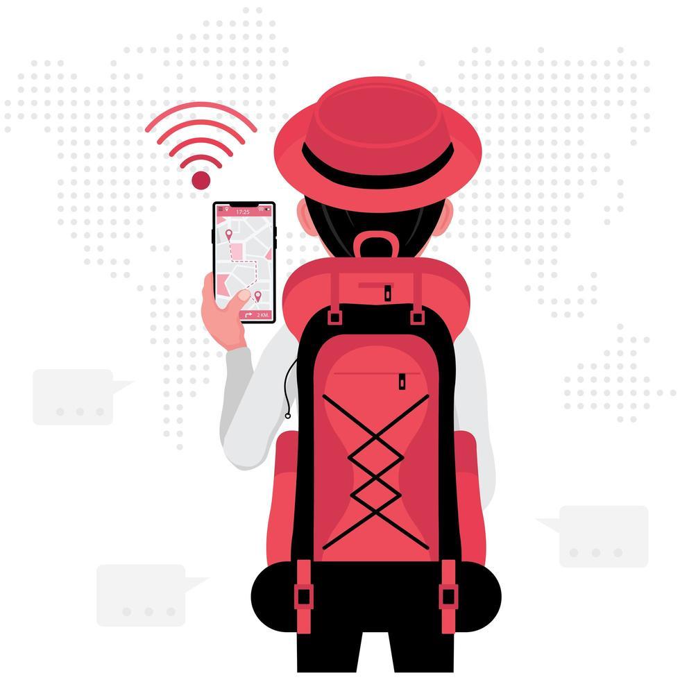 zaino in spalla alla ricerca di una posizione sullo smartphone vettore