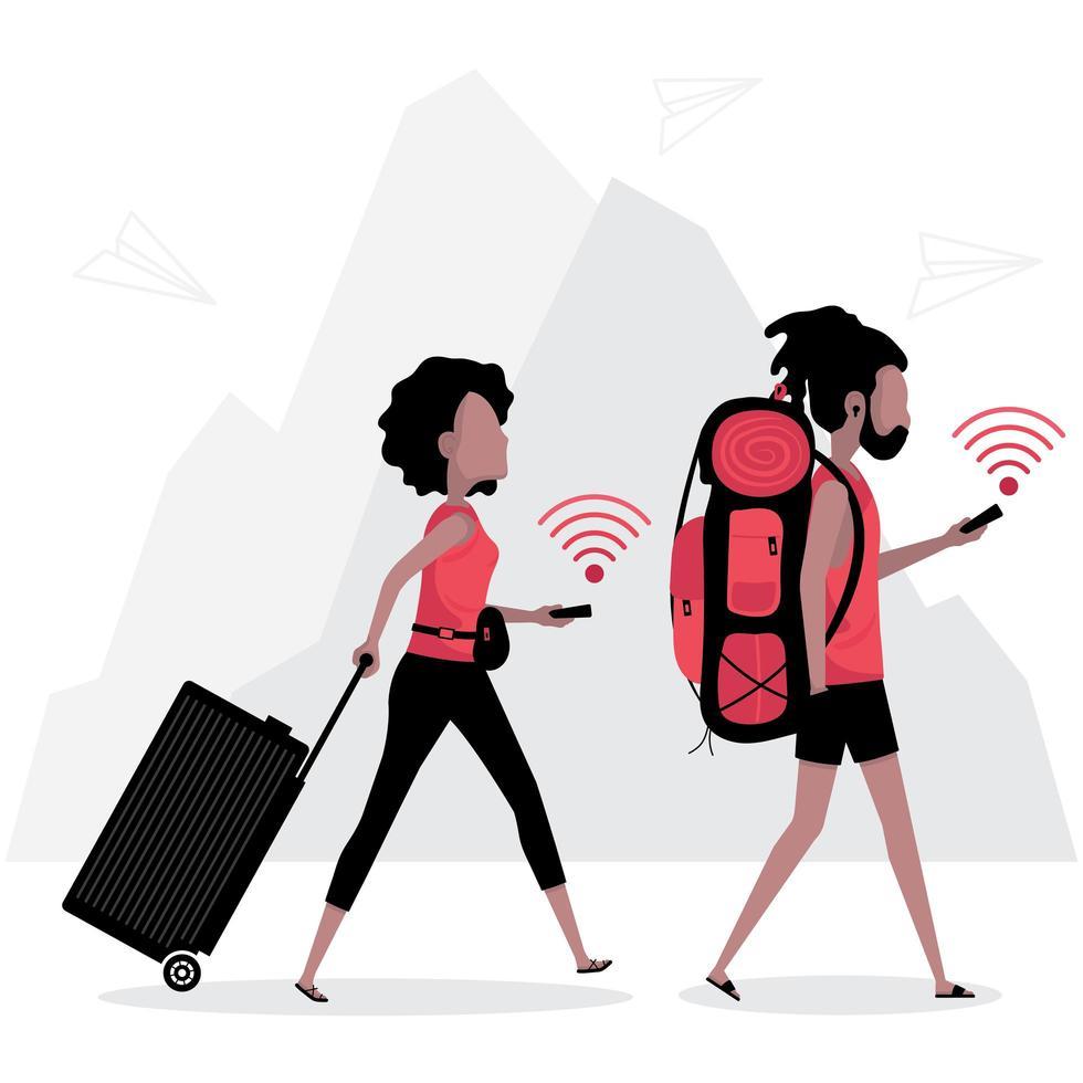 ubicación GPS en línea utilizada por dos viajeros vector