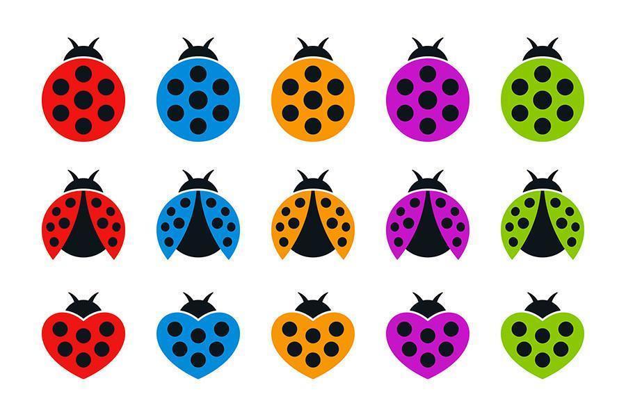 Coccinelle tonde ea forma di cuore icone piatte colorate vettore