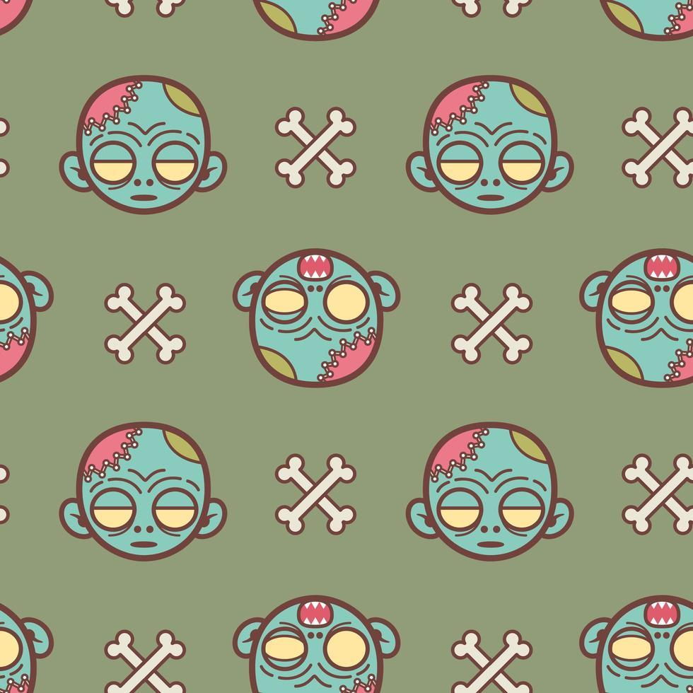 zombie faccia cartoon seamless pattern vettore