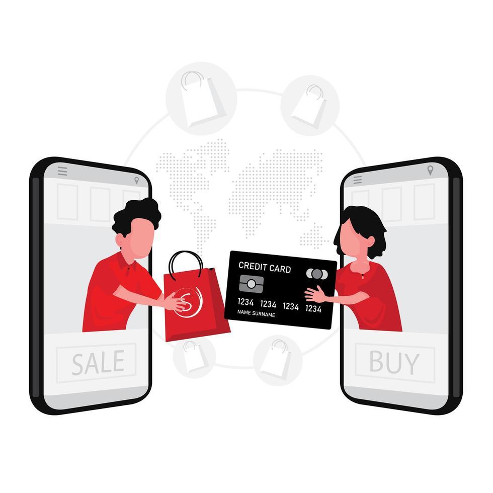 mobiel online winkel- en betalingsconcept vector