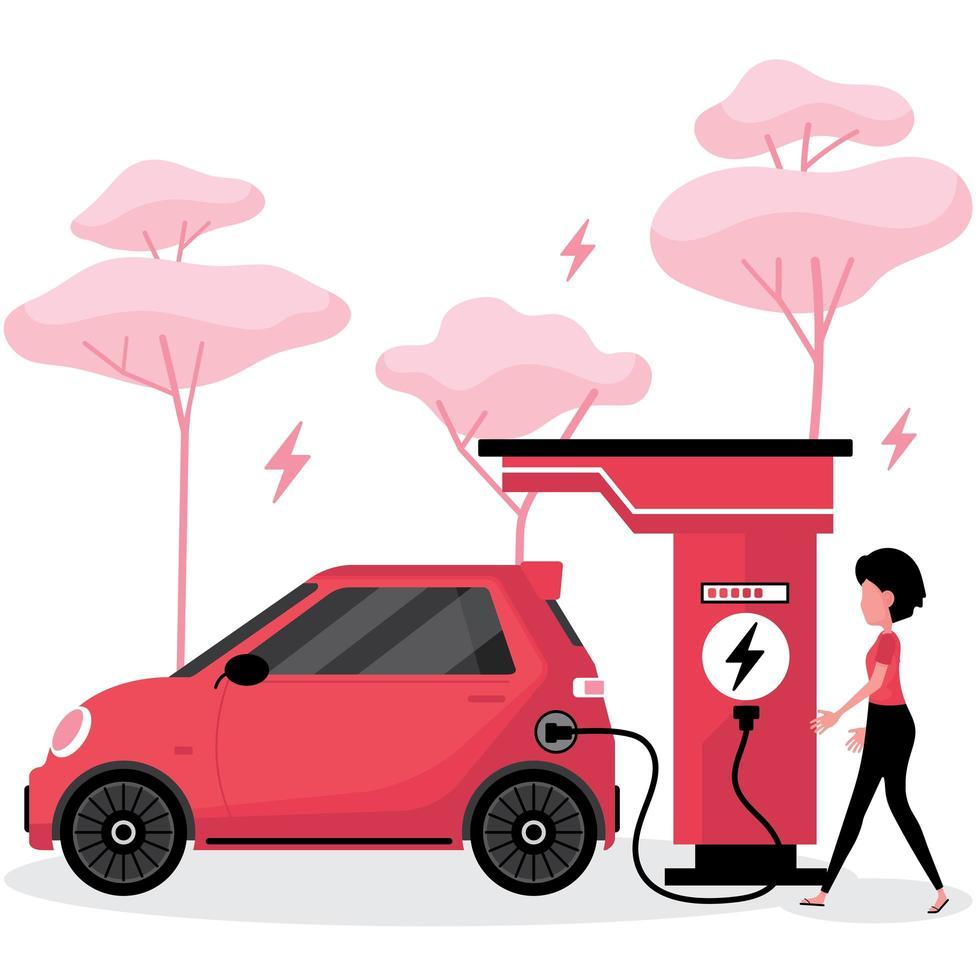 femme, charge, voiture électrique vecteur