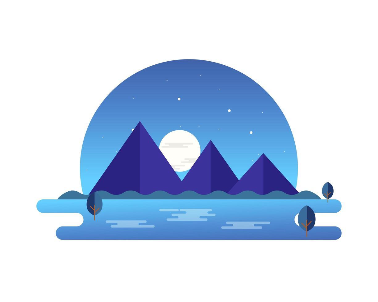 paesaggio di montagna di notte vettore