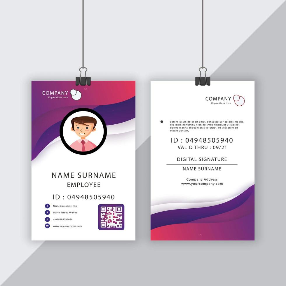 cartão de identificação com formas gradientes roxas fluidas em branco vetor