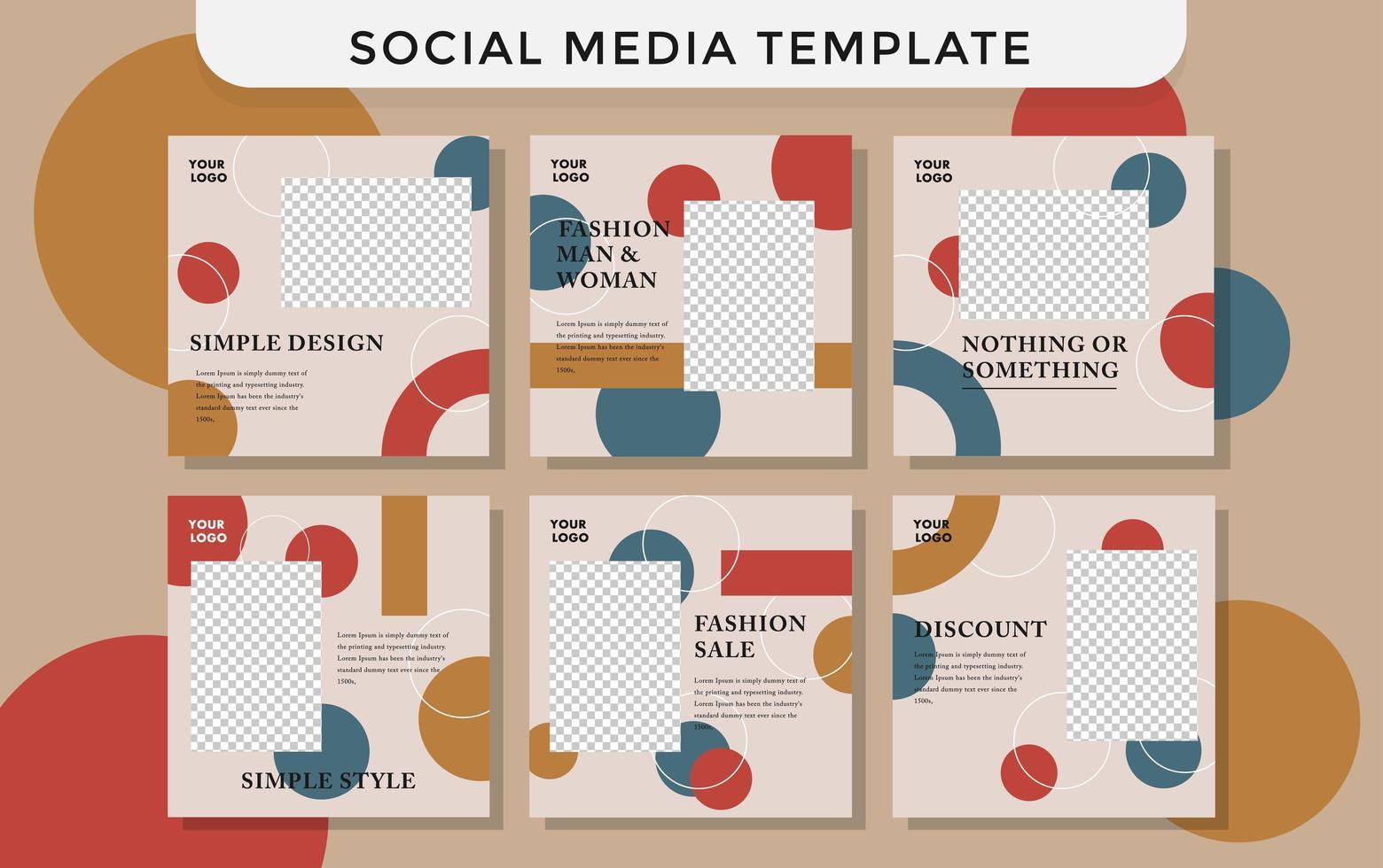 modello di social media di moda con cerchi vettore