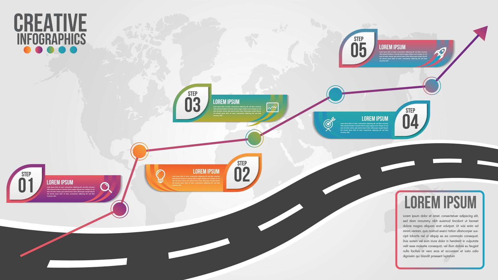 infographie de la carte du monde en 5 étapes vecteur