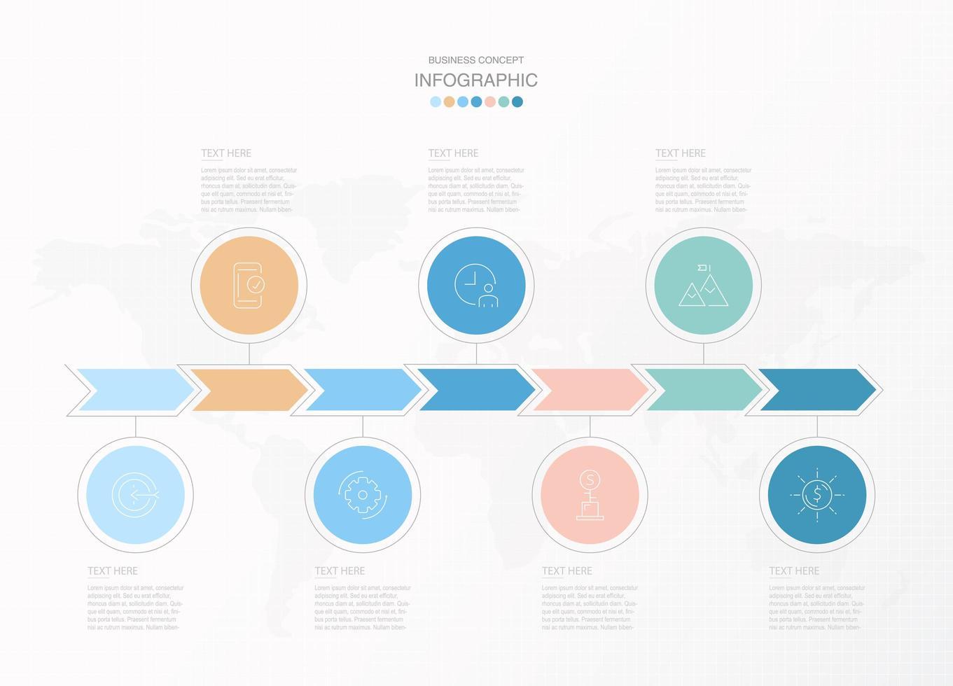 flèche pastel et cercle infographique en 7 étapes vecteur