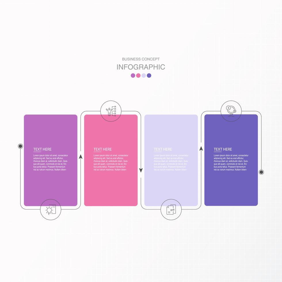infographie rectangle connecté violet et rose vecteur