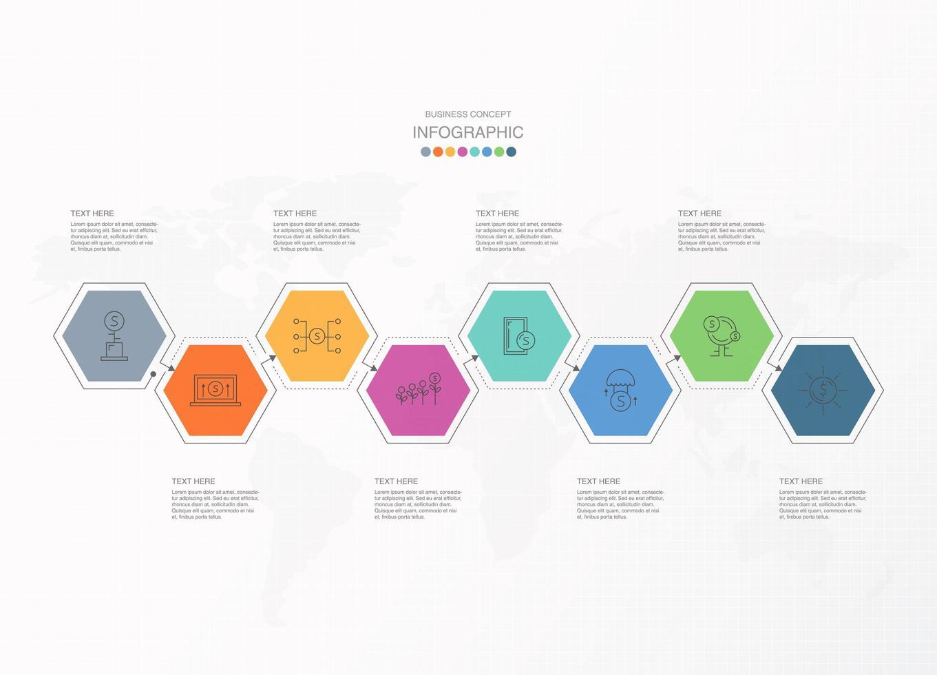 Infographie hexagonale connectée colorée en 8 étapes vecteur
