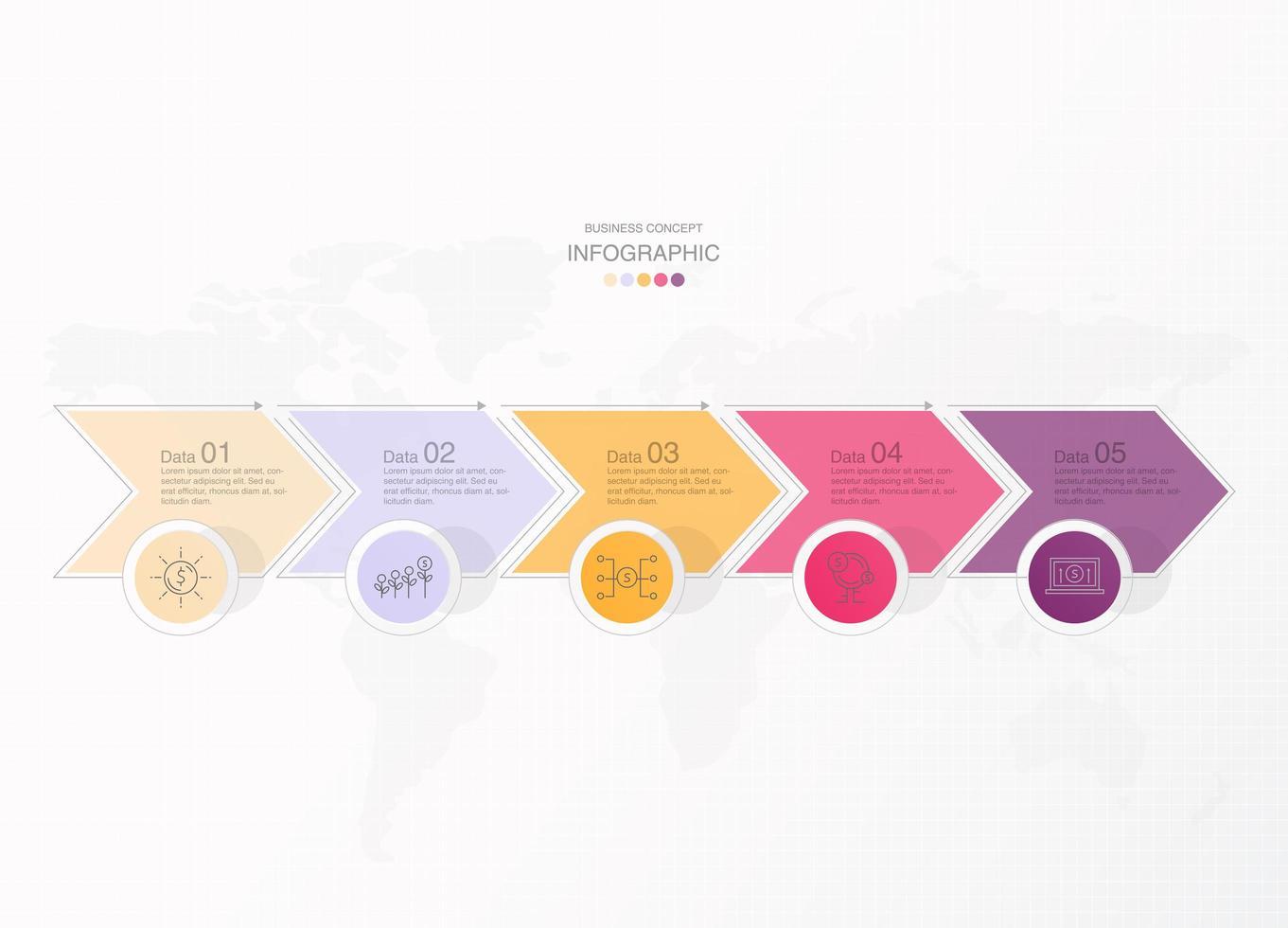 freccia collegata pastello 5 passaggi infografica vettore