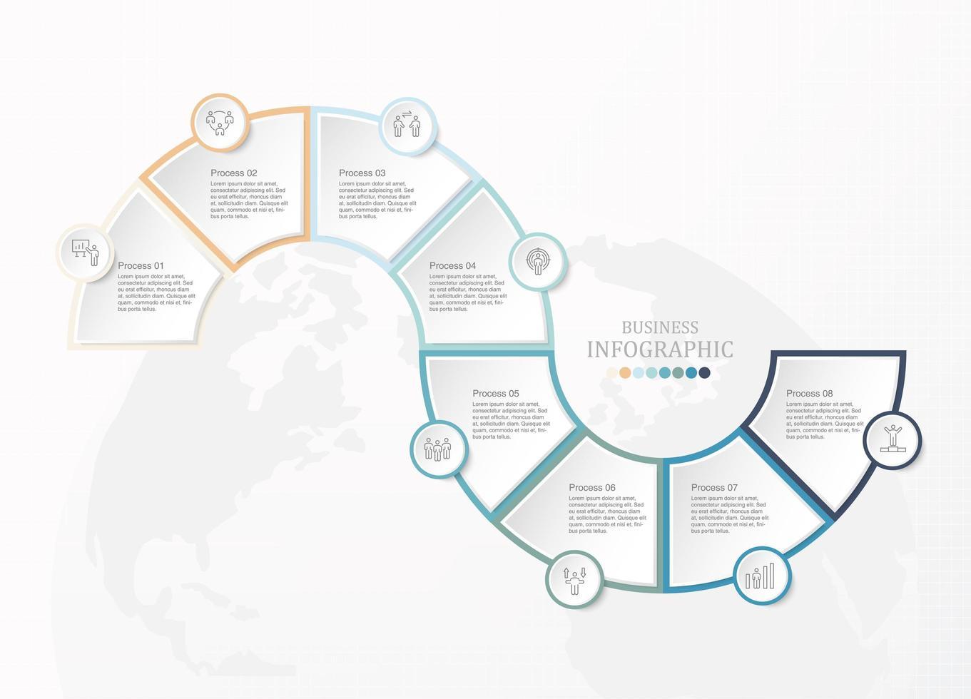 infographie en 8 étapes de forme de courbe connectée avec des icônes vecteur