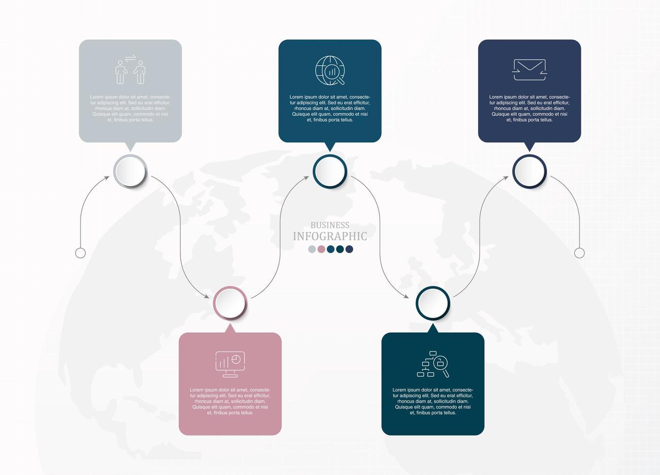 Infographie carrée connectée 5 étoiles vecteur