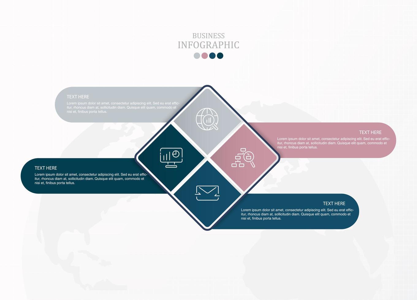 infografica con diamanti blu e rosa per le imprese vettore