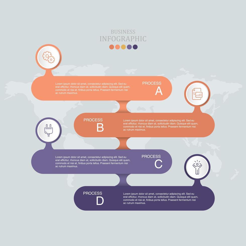 anúncio infográfico laranja e roxo vetor