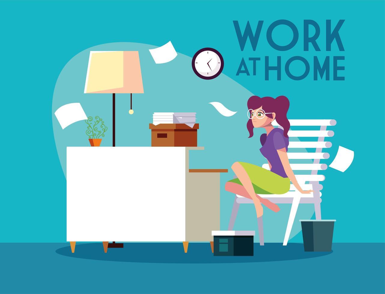 trabajadora autónoma que trabaja de forma remota desde su casa vector