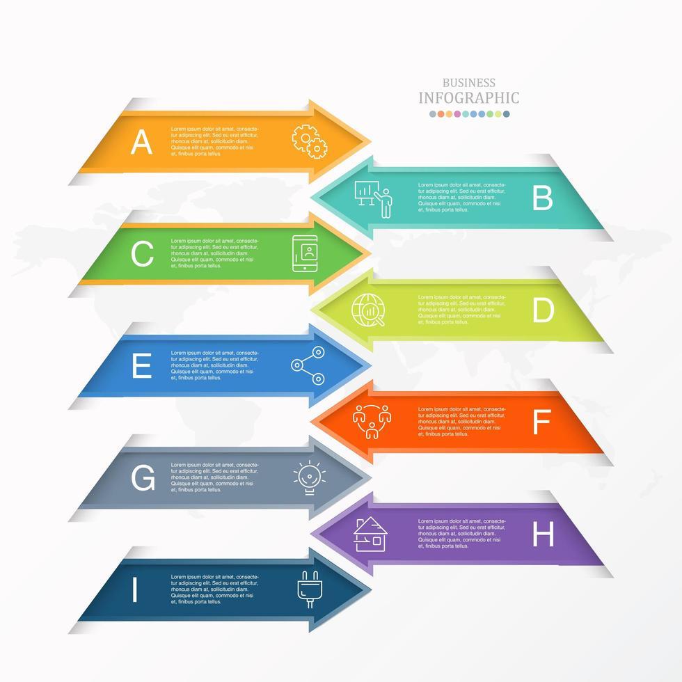 frecce colorate ai infografica e icone per il business vettore
