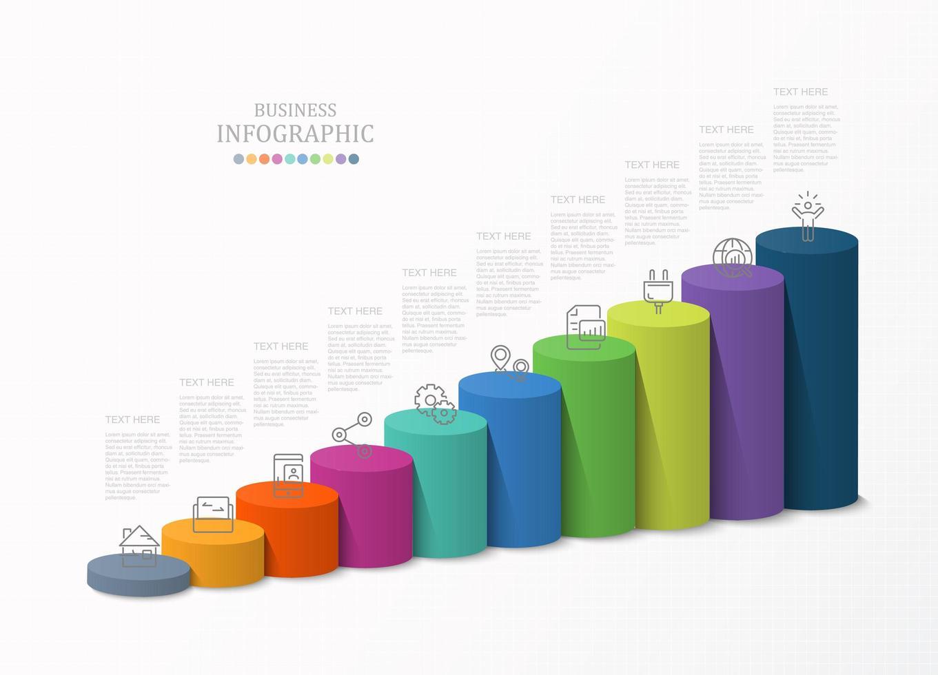 modèle d'infographie de cylindre 3d graphique à barres vecteur