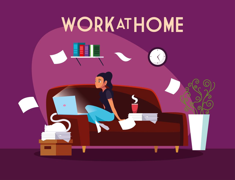 freelancer feminina trabalhando remotamente em casa vetor